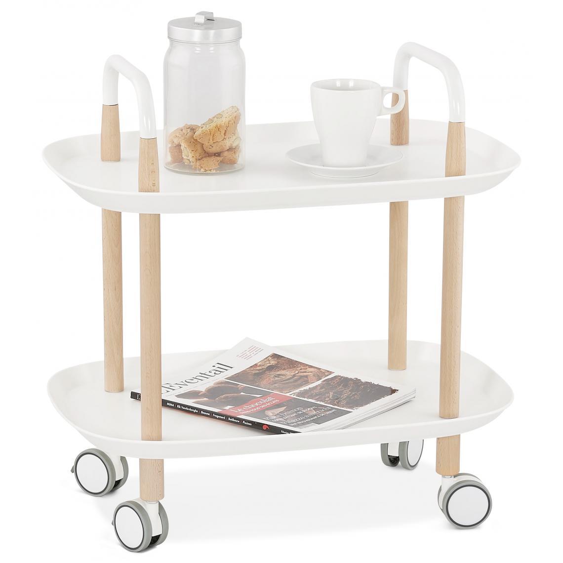 desserte de table blanche en bois avec
