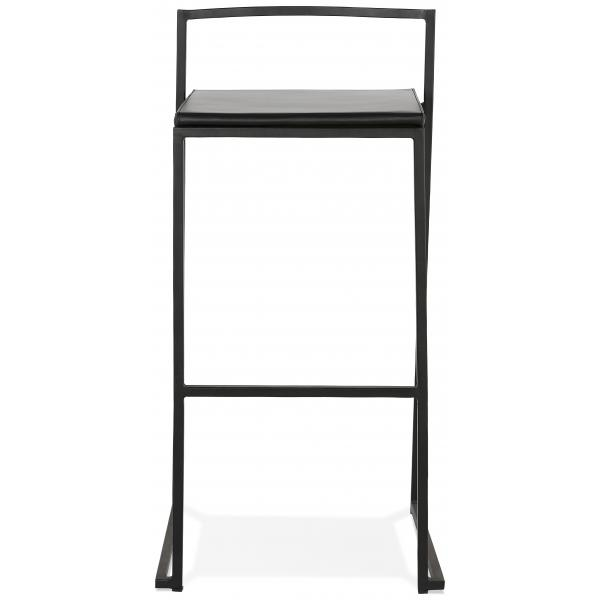 tabouret de bar design geometrique noir et pietement en metal noir yopla