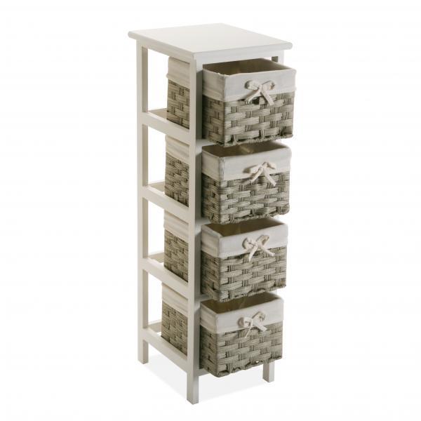 meuble de rangement blanc avec 4 paniers imprimes beige balta