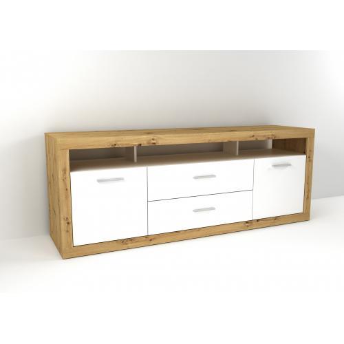 3s x home meuble tv scandinave bois clair et blanc fiola