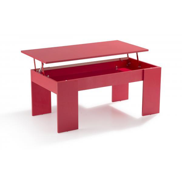 table basse avec plateau relevable rouge mekal