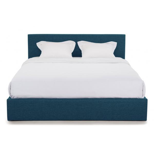 lit coffre a sommier relevable bleu canard enzo
