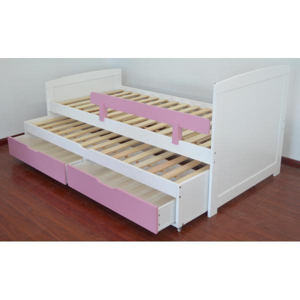 lit gigogne enfant avec sommiers et tiroirs blanc et rose pica