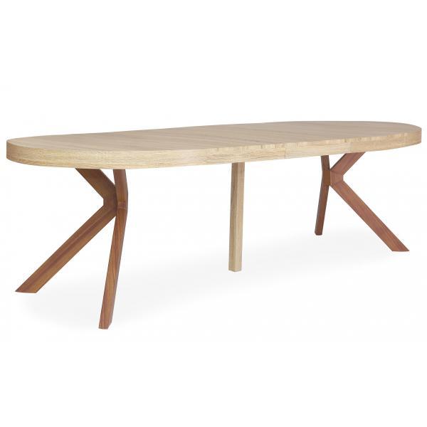 table ronde extensible noir et chene clair ryam