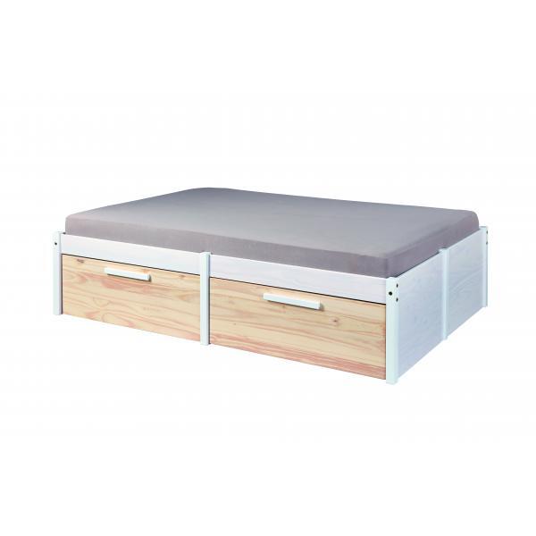 lit 4 tiroirs de rangement en pin massif blanc 140x200 cm zarina