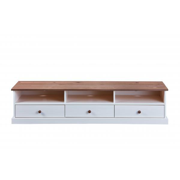 meuble tv 3 grands tiroirs en bois massif