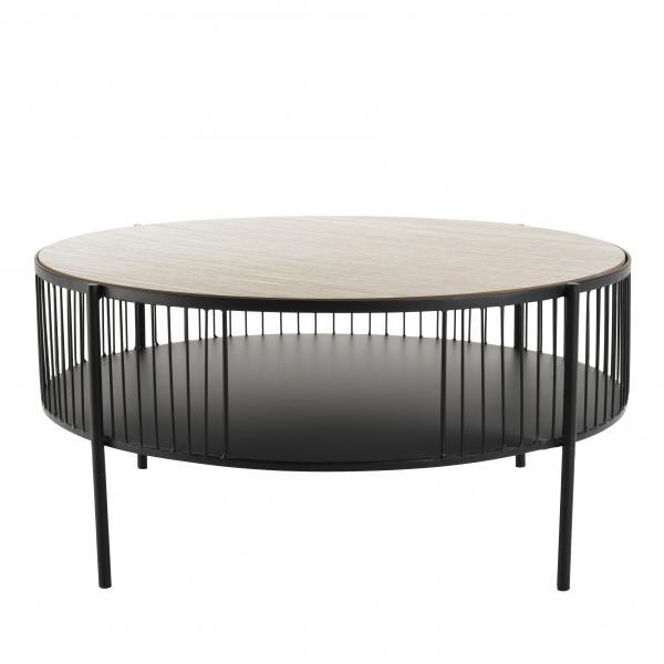 table basse ronde double plateau 80 cm metal talia