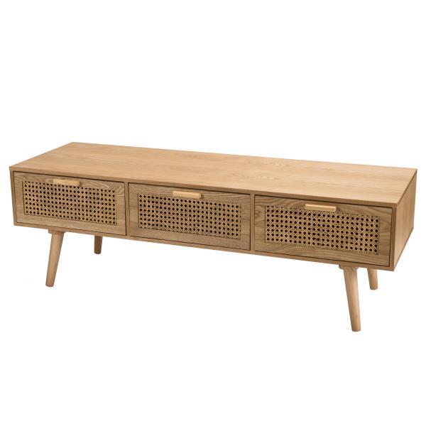 meuble tv couleur naturel 3 tiroirs cannage rodrigo