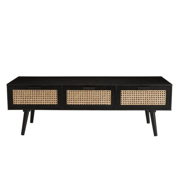 meuble tv noir 3 tiroirs cannage mikel
