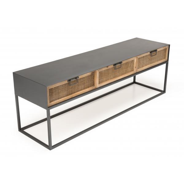 meuble tv metal 3 tiroirs cannage doria
