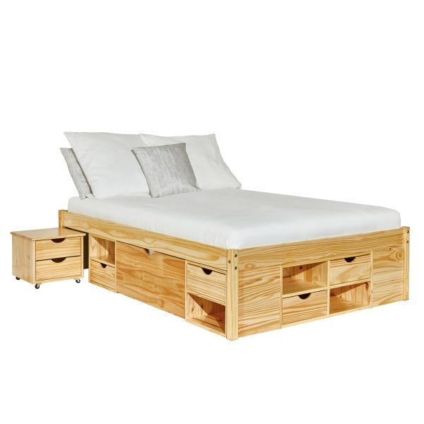 lit double avec rangements classico 140x200 en pin massif