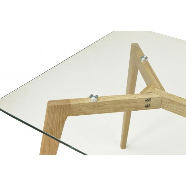 table a manger rectangulaire avec plateau en verre pieds bois tampere