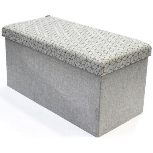 coffre rangement pouf pliable gris