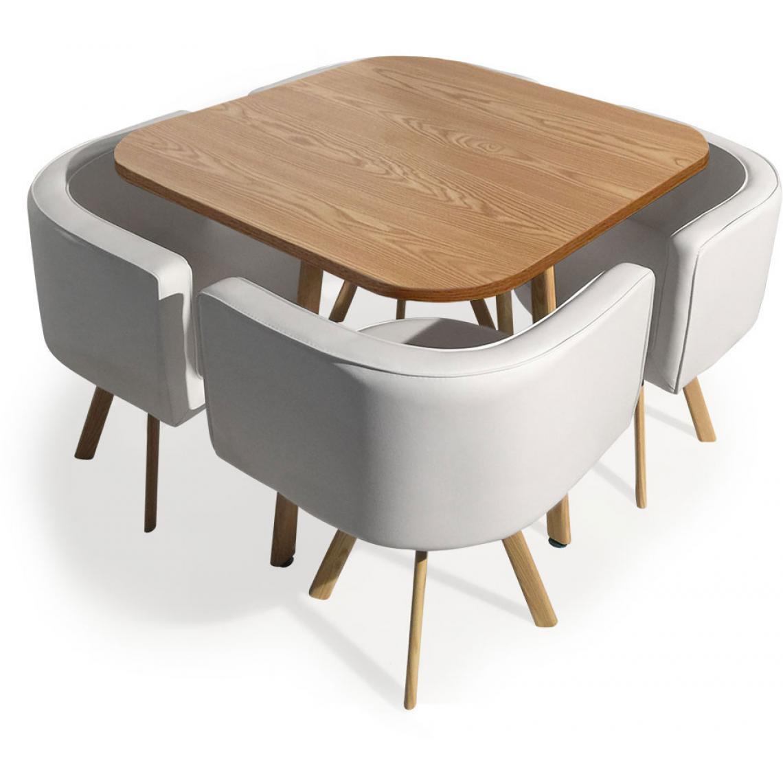 table et chaises encastrables scandinaves chene copenhague