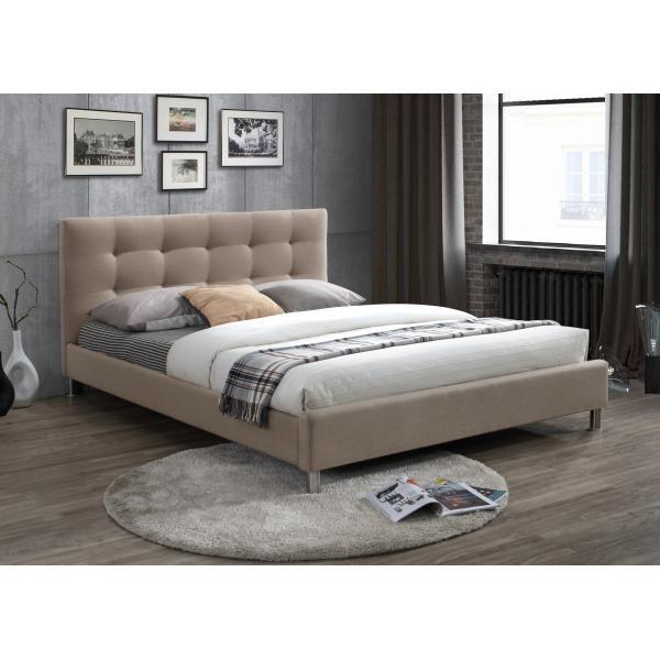 lit beige 160 en tissu avec tete de lit capitonnee nala