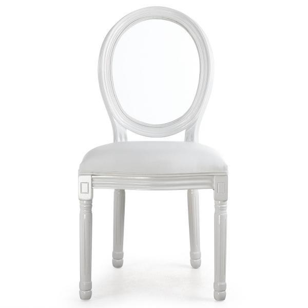 lot de 2 chaises medaillon transparent blanc louisa