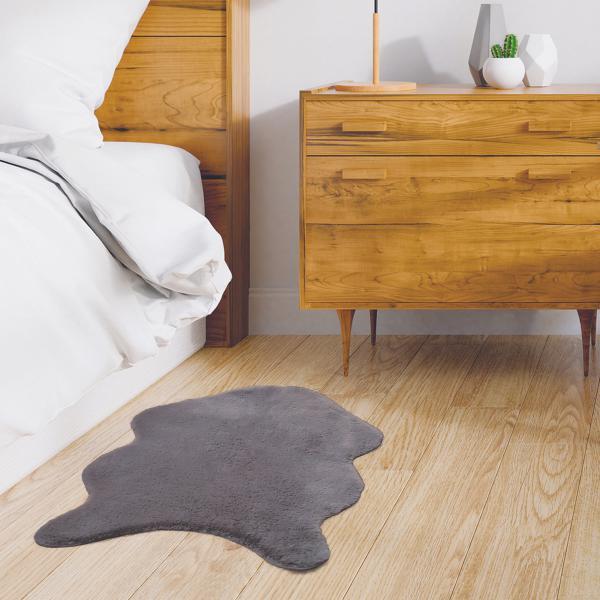 tapis imitation fourrure poil fin gris 60x90cm