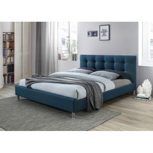 lit bleu 160 en tissu avec tete de lit capitonnee nala 3s x home