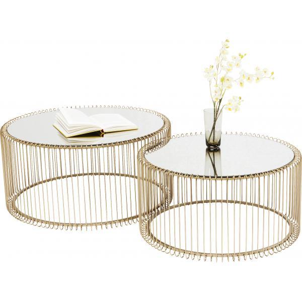 set de 2 tables basses dore wire
