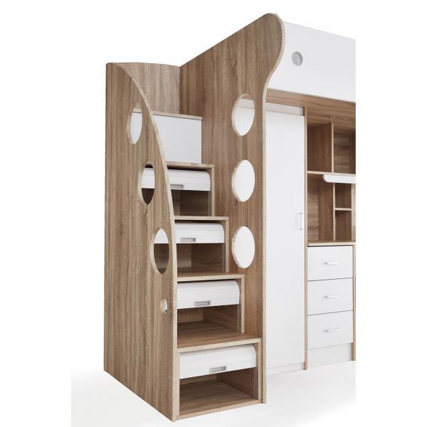 lit combine avec bureau et penderie integres lavi blanc et bois