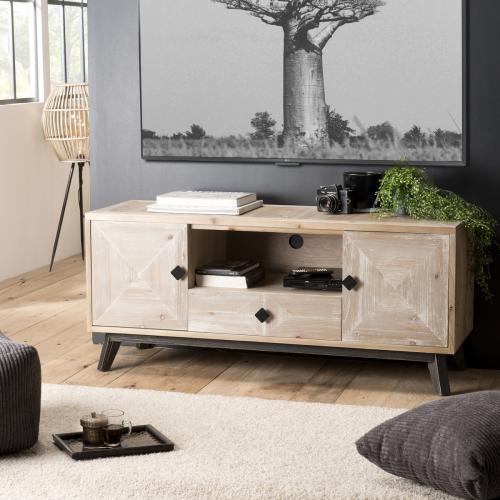 macabane meuble tv mandy scandi 2 portes 1 tiroir 1 niche