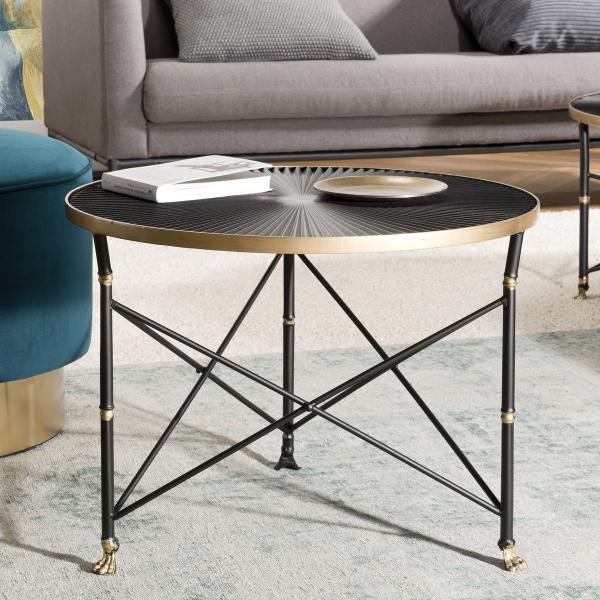 table d appoint ronde tod 61x61cm ceinture doree pieds metal noir