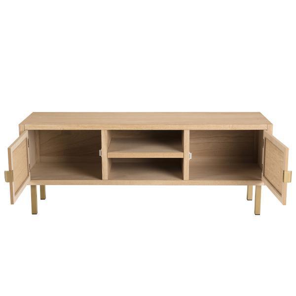 meuble tv 2 aline niches 2 portes toile de jute pieds metal dore