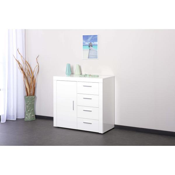 commode corbet 1 porte 4 tiroirs blanc brillant