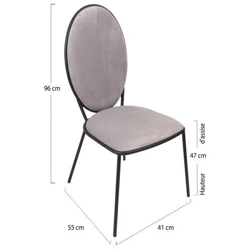 lot de 2 chaises louis gris clair 3s x home