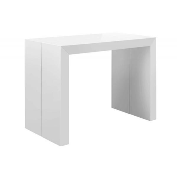table console extensible blanc laque nicky 3 rallonges 100x50x75