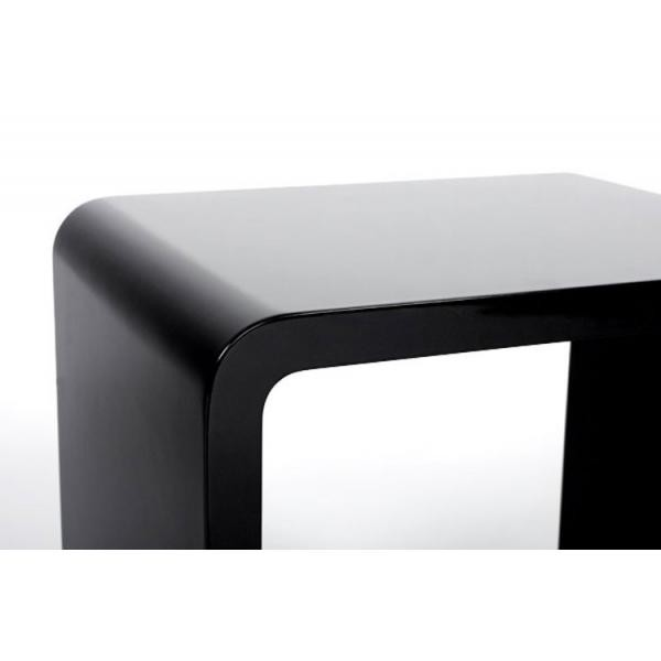 table de chevet design cube noir laque 45x45x35