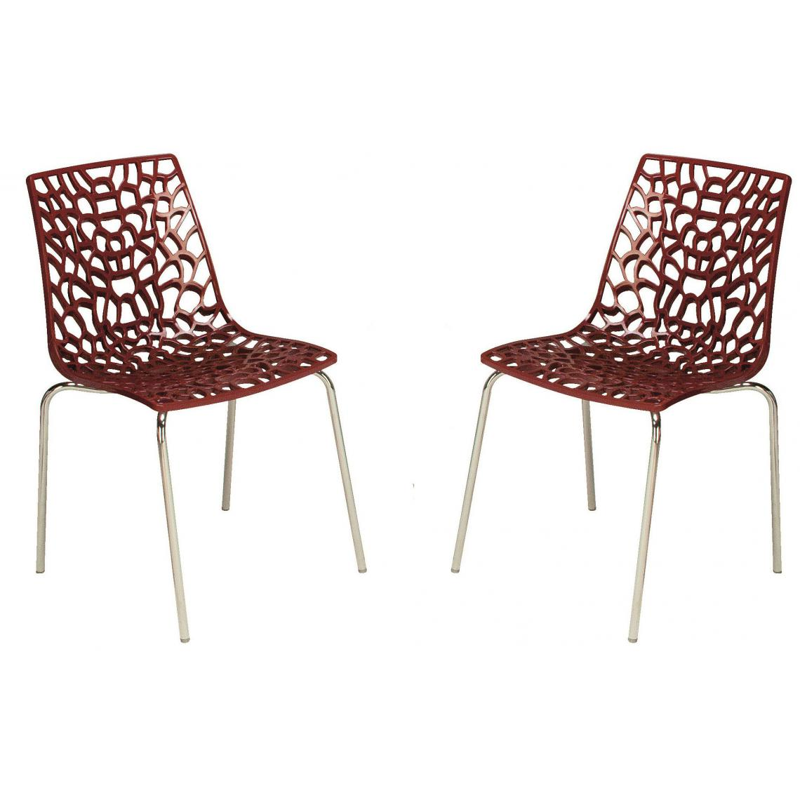 lot de 2 chaises rouges traviata 53x48x82