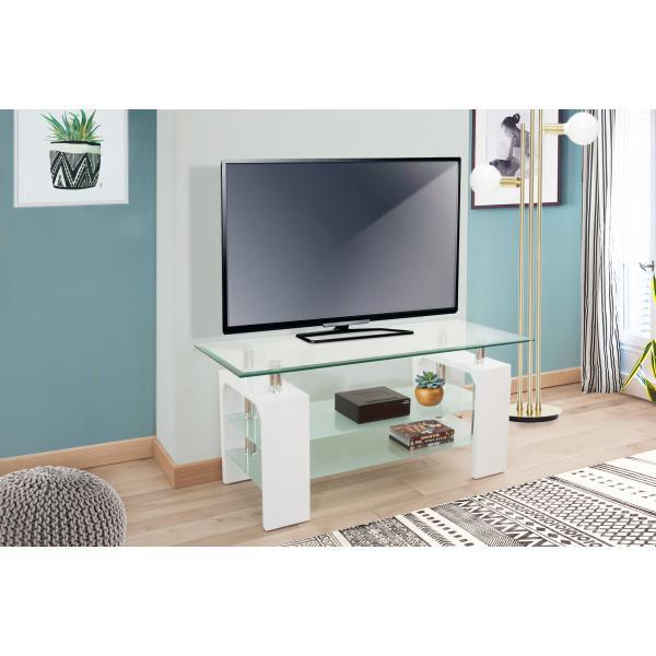meuble tv 2 plateaux verre blanc pulton