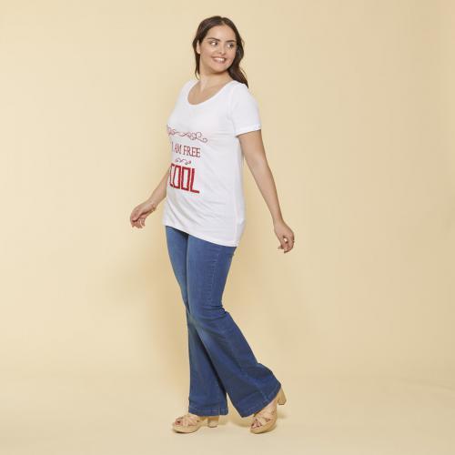 3 suisses tee shirt manches courtes imprime et franges femme blanc