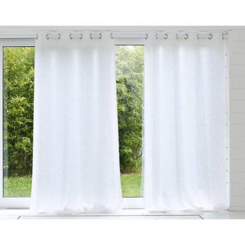 becquet rideau uni lin lave qualite lourde blanc