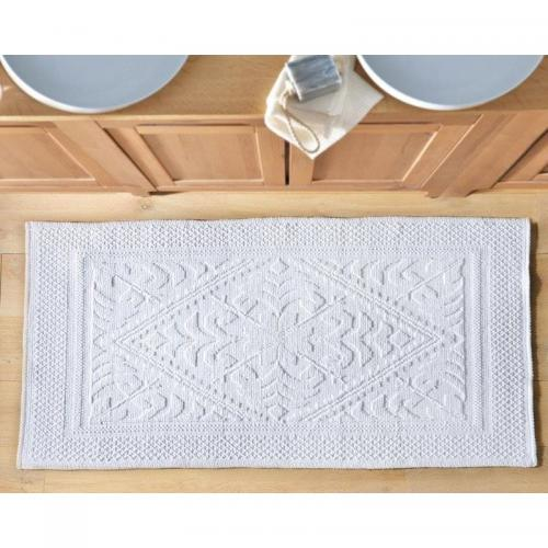 becquet tapis de bain decor jacquard 1500g m2 blanc