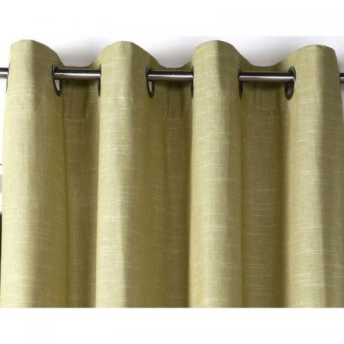 becquet rideau a oeillets unis occultants thermiques aspect chambray vert