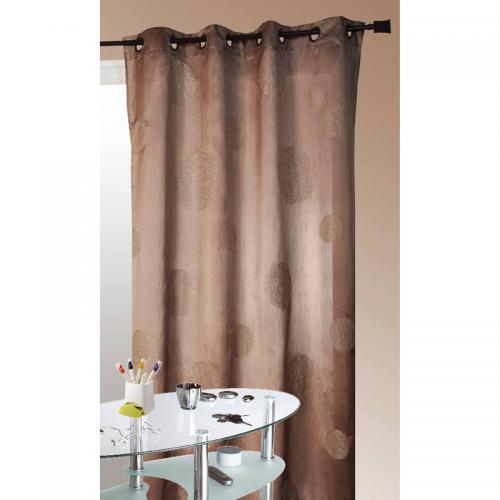 homemaison rideau a œillets motif ronds brodes shantung polyester 5 mondes home maison