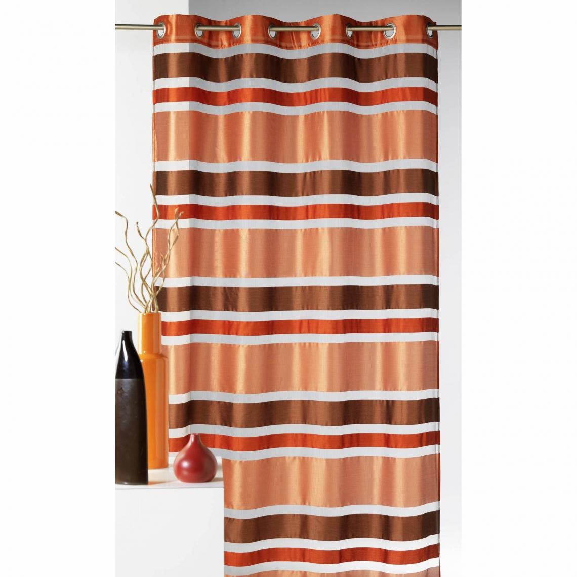 rideau voilage a œillets raye organza polyester mayotte home maison marron