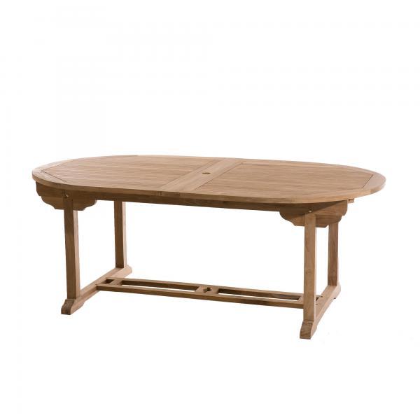 table de jardin 10 12 personnes ovale double extension 200 300 120 cm en bois teck