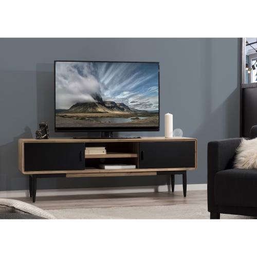 macabane meuble tv 2 portes coulissantes 2 niches esprit atelier