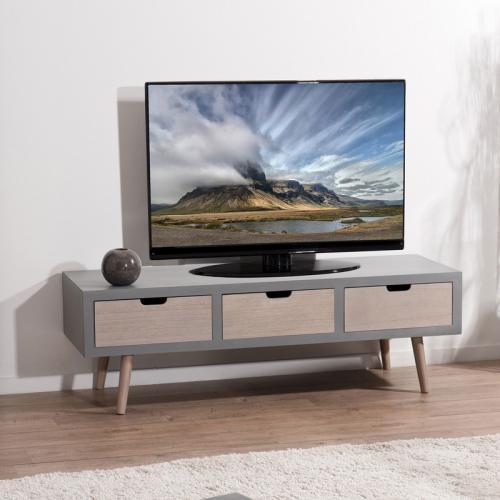 macabane meuble bas tv 3 tiroirs gris