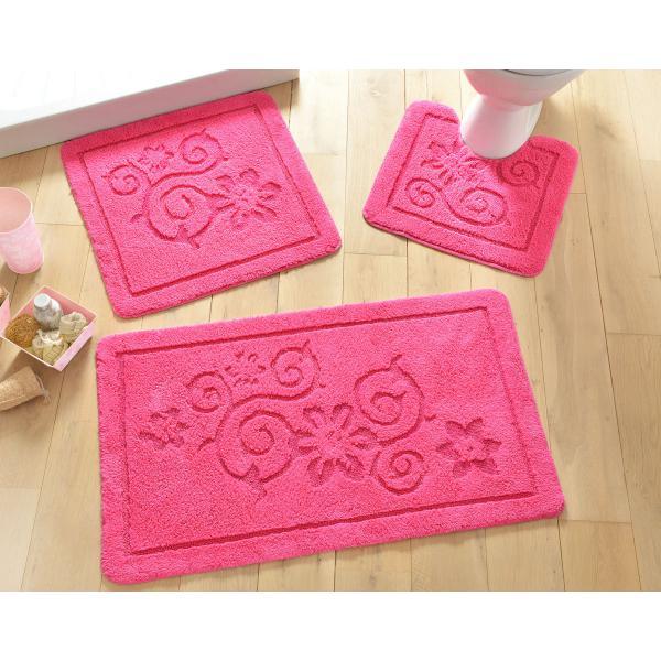tapis de bain motif arabesques 1500gm rose