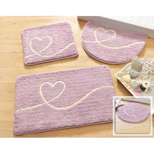 becquet tapis de bain motif coeur 1450g m2 violet