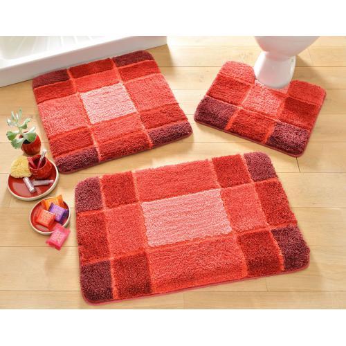 becquet tapis de bain motifs geometriques rouge