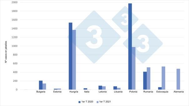 Casos de PPA en jabalíes (1er trimestre de 2021 vs 1er trimestre de 2020)