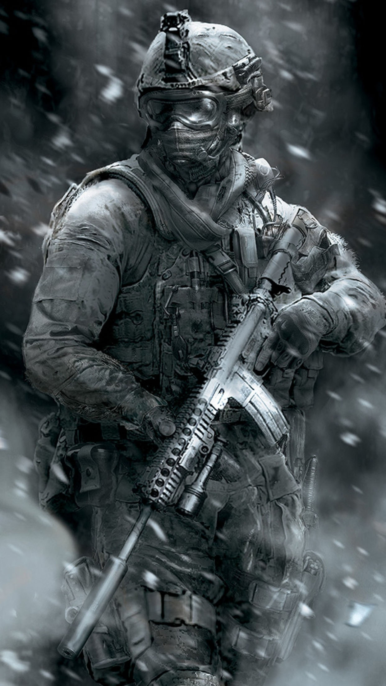 Call of duty soldier gun 3 3Wallpapers iPhone Parallax Soldier gun