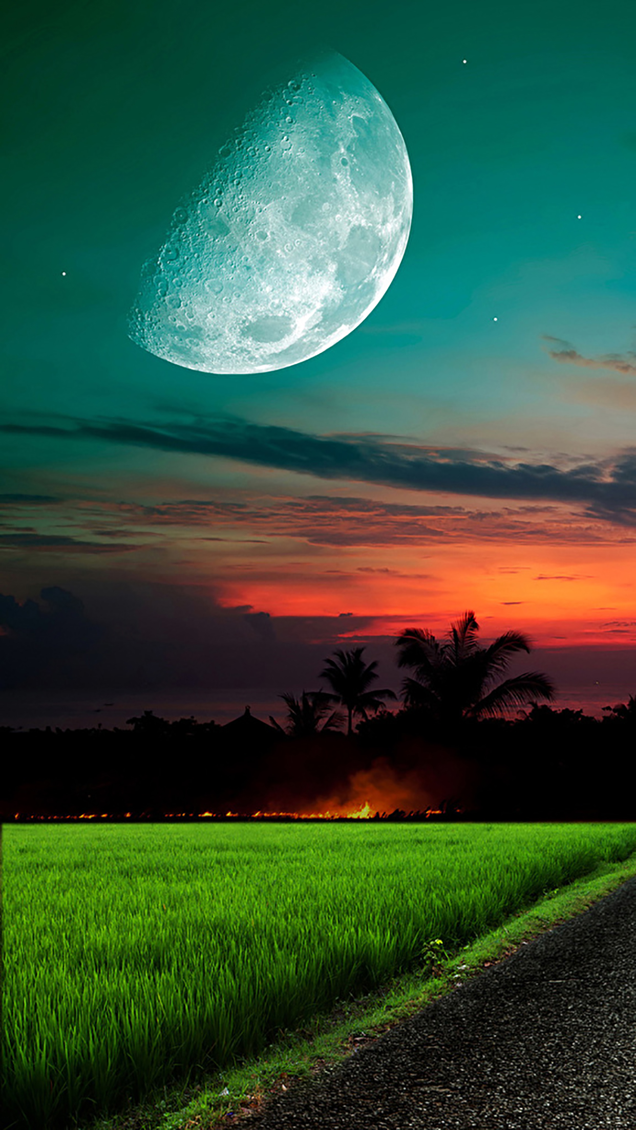 Moon And Sky Grass 3Wallpapers iPhone Parallax Moon And Sky : Grass