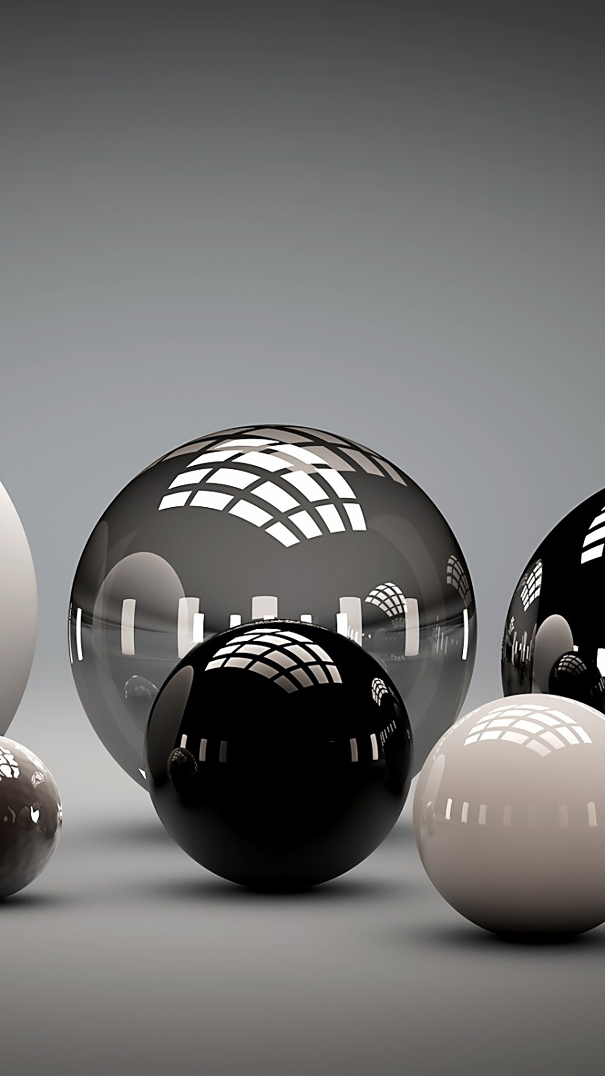 Marbles Black And White 3Wallpapers iPhone Parallax Billes : Black And White
