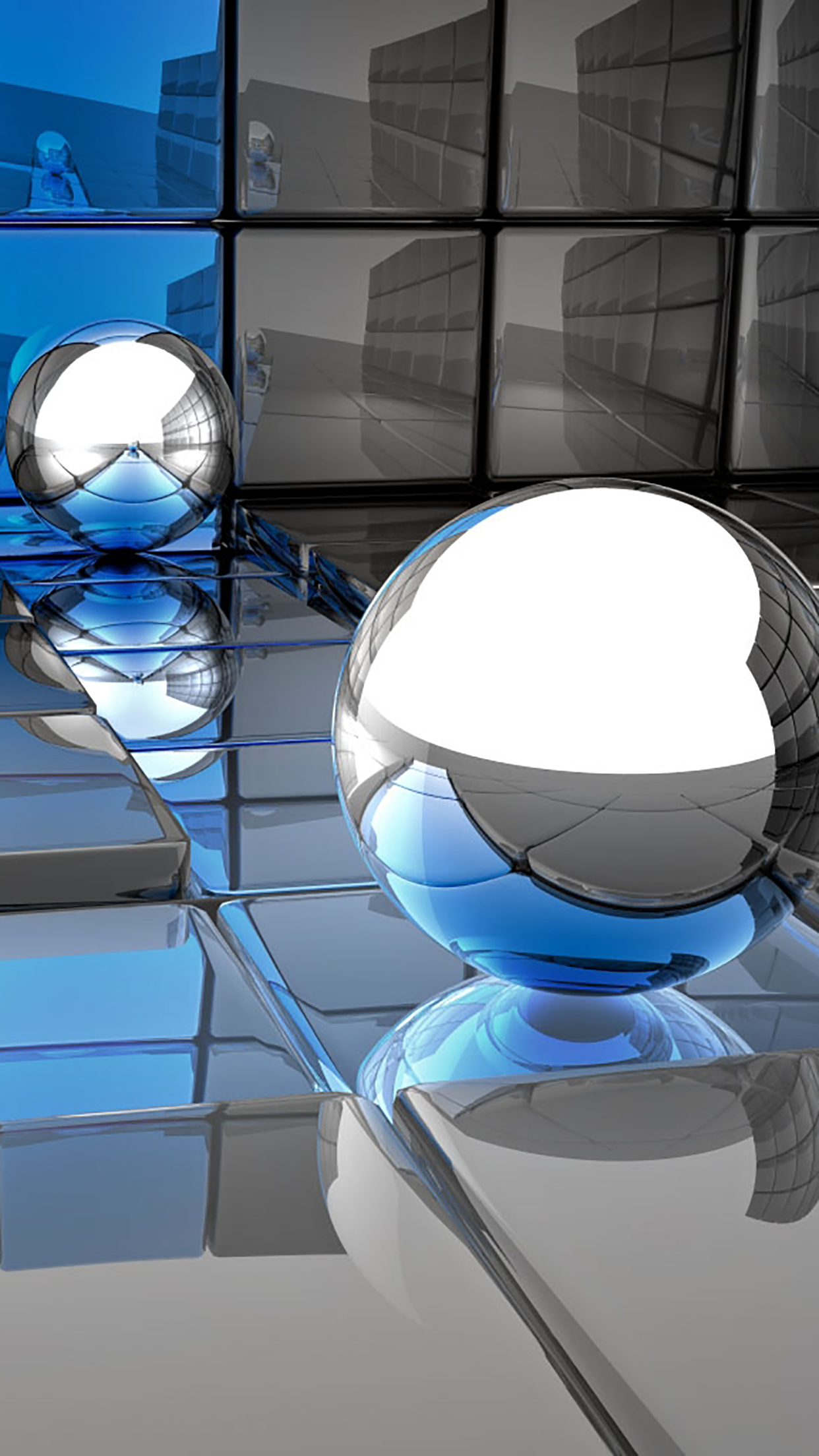 Metal Ball Blue And Gray 3Wallpapers iPhone Parallax Metal Ball : Blue And Gray